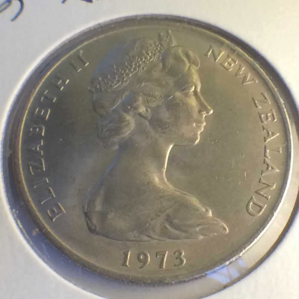 New Zealand 1973  20 Cents Kiwi Coin ( 20C ) - Obverse