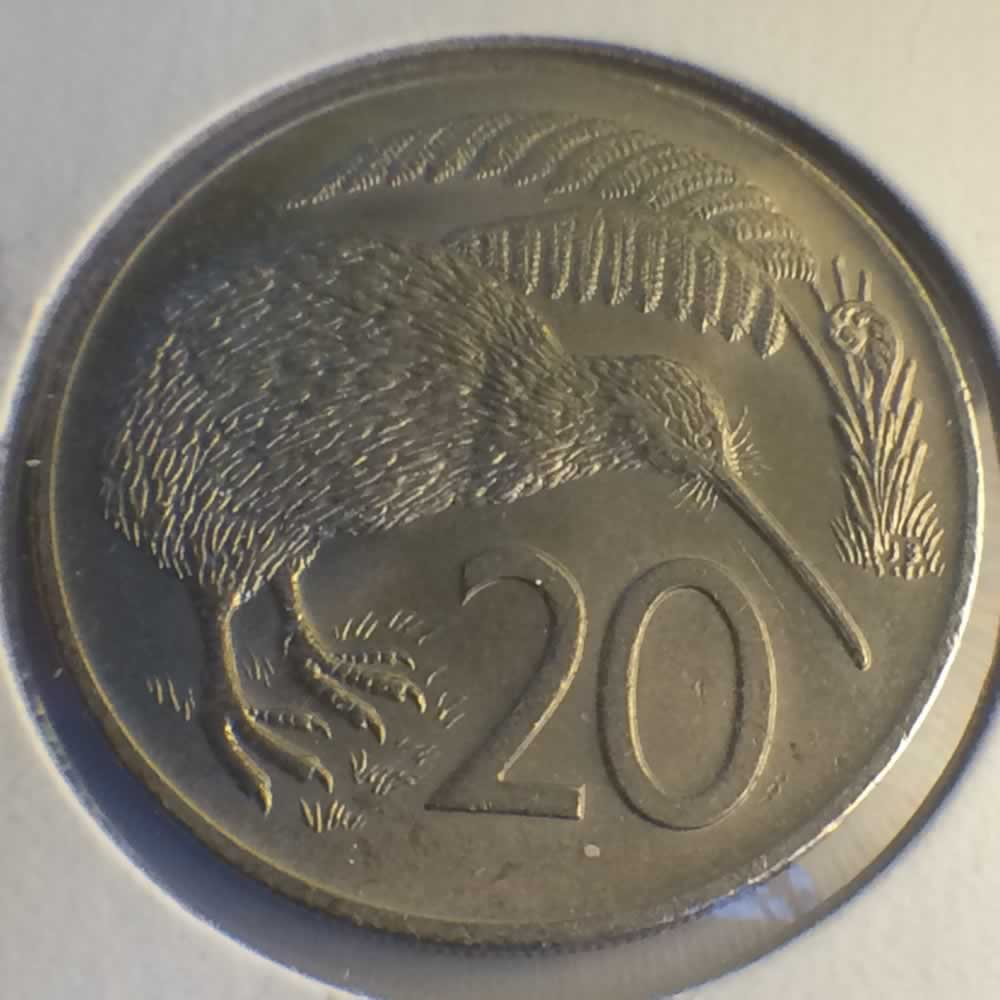 New Zealand 1973  20 Cents Kiwi Coin ( 20C ) - Reverse