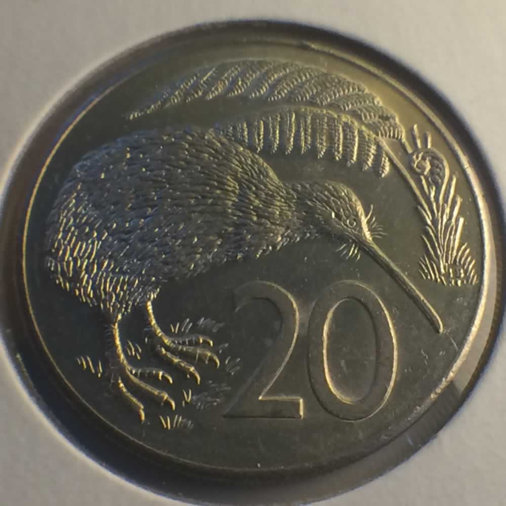 New Zealand 1986  20 Cents Kiwi Coin ( 20C ) - Reverse