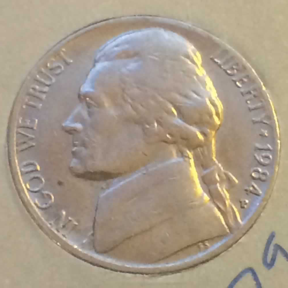 US 1984 P Jefferson Nickel ( 5C ) - Obverse