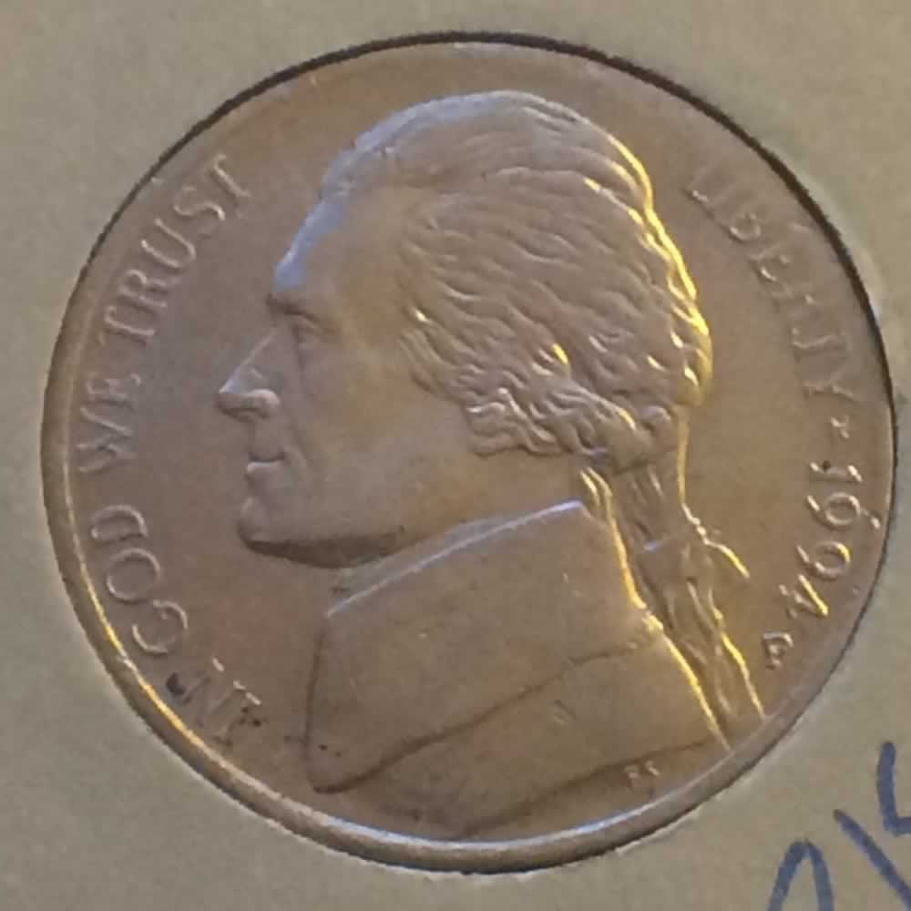 US 1994 P Jefferson Nickel ( 5C ) - Obverse