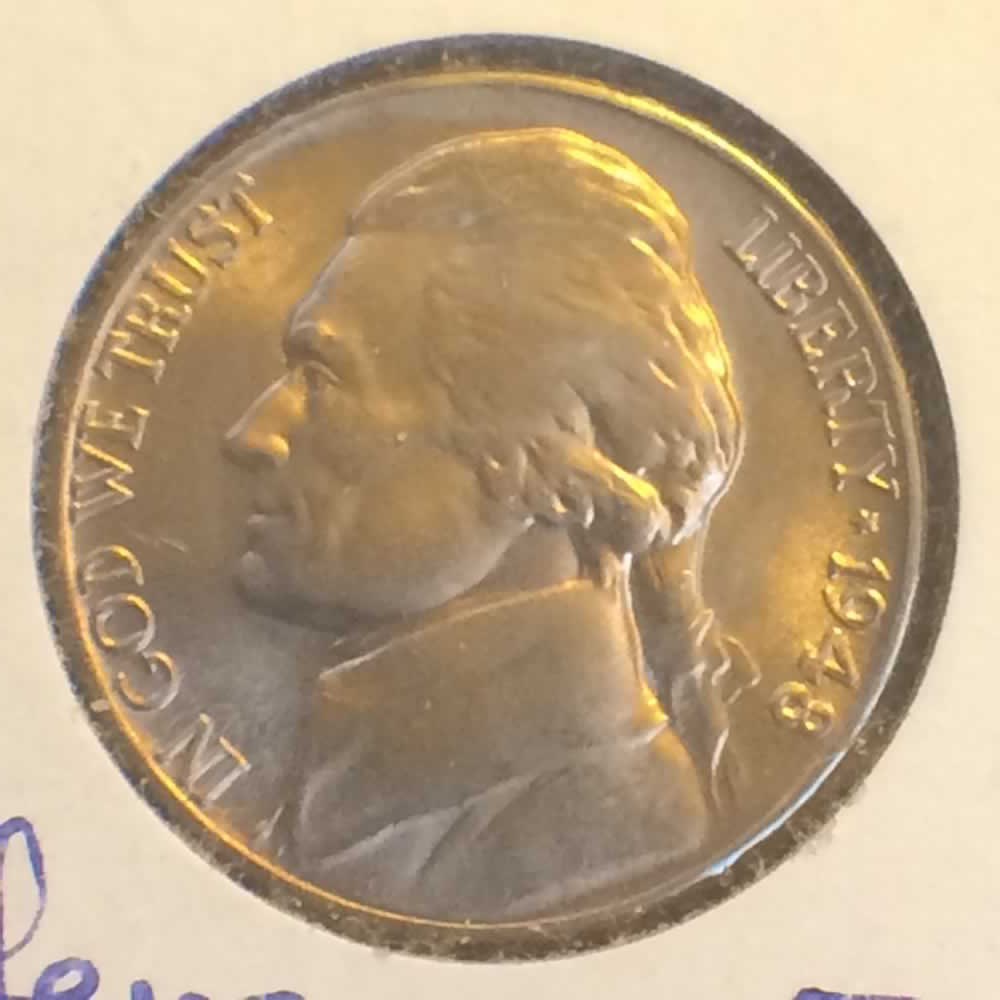 US 1948 D Jefferson Nickel ( 5C ) - Obverse