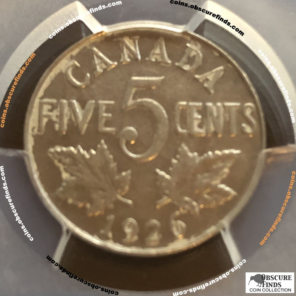 Canada 1926  Canadian Nickel - Far 6 ( C5C ) - Reverse