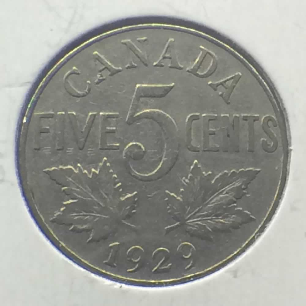 1929 Canada 1922 1936 George V Canadian Five Cents