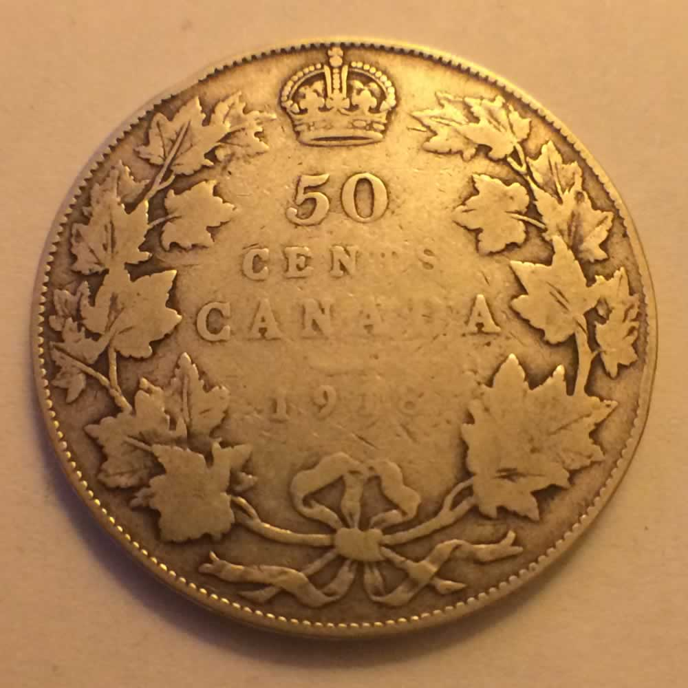 Canada 1918  Canadian Silver 50 Cents ( C50C ) - Reverse