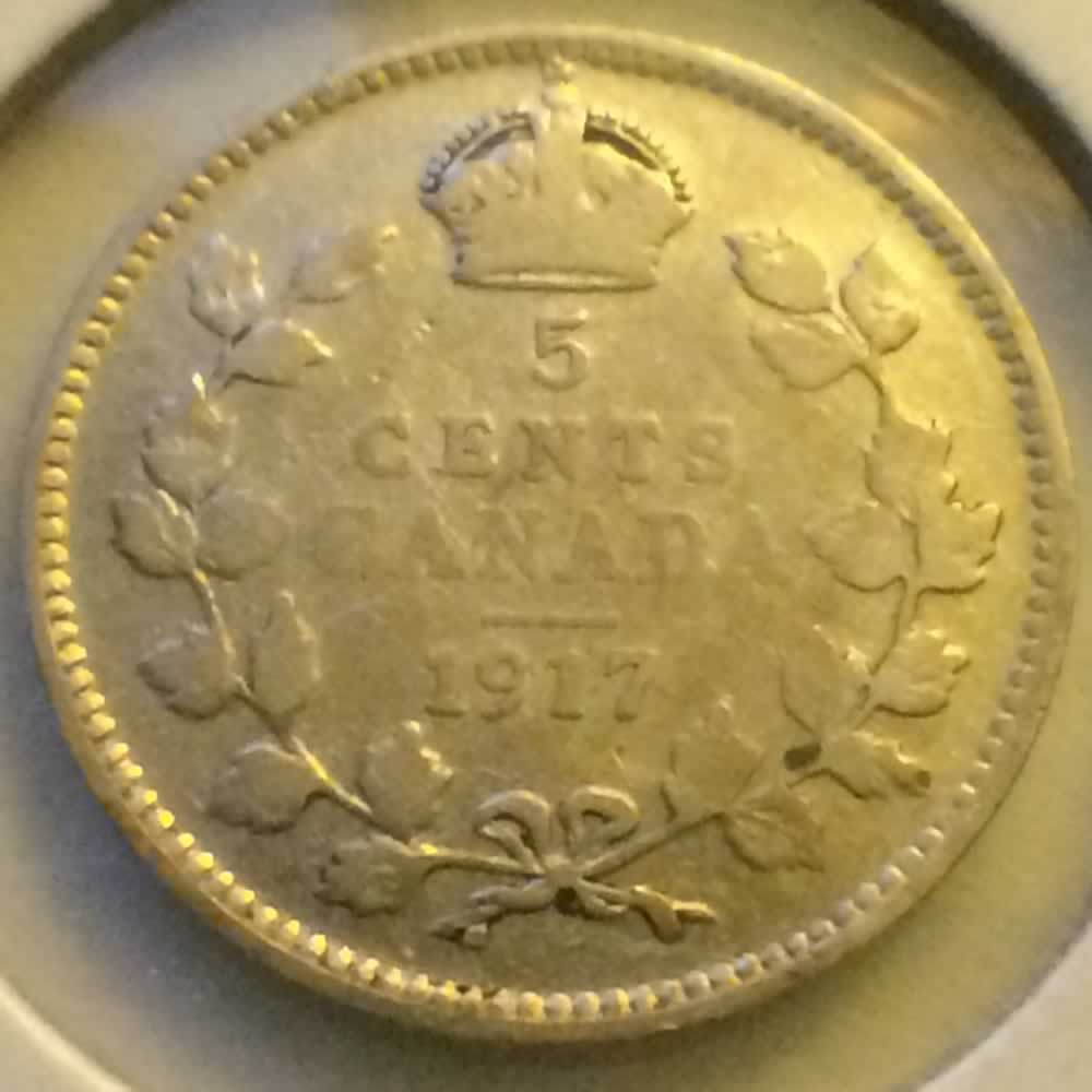 Canada 1917  George V Silver Nickel ( CS5C ) - Reverse