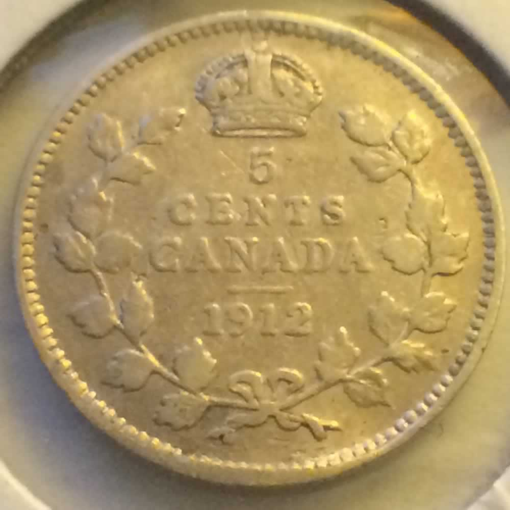 Canada 1912  George V Silver Nickel ( CS5C ) - Reverse