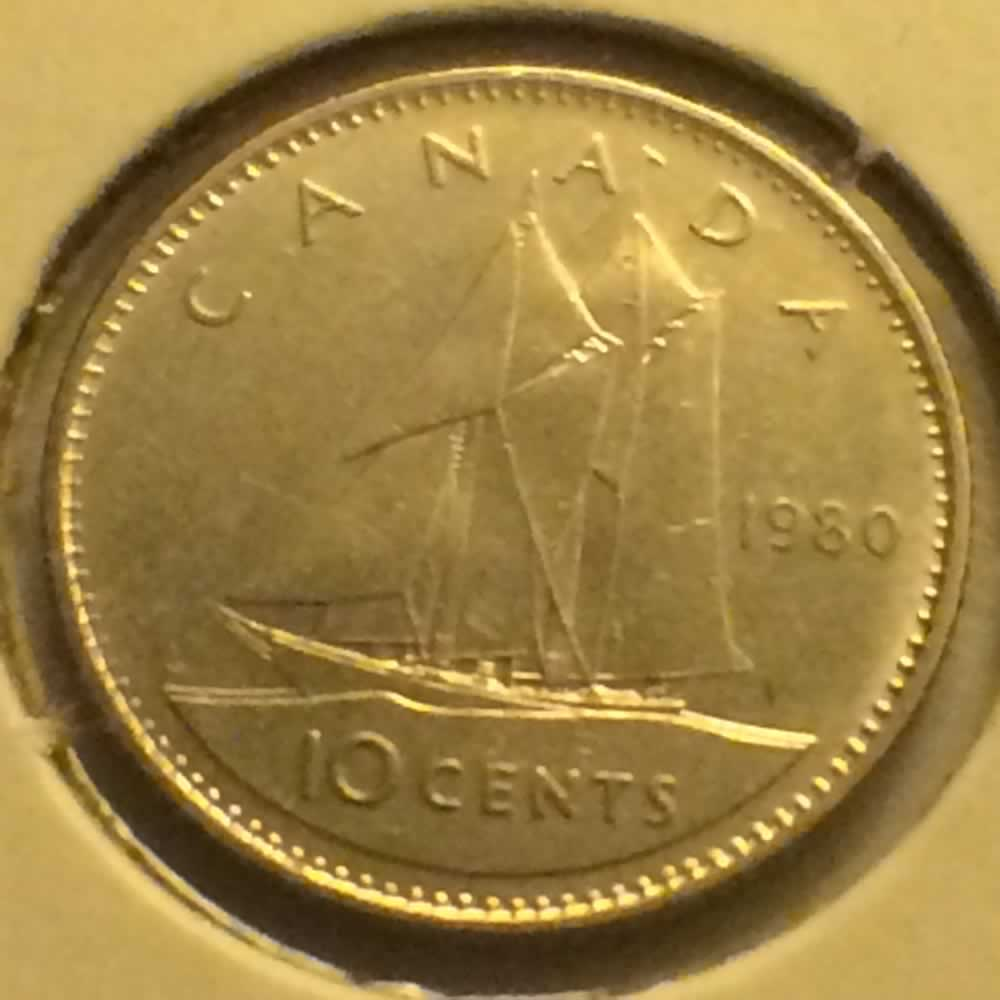 1980 Canada 1979 1989 Elizabeth Ii Small Bust Dime Ofcc Ungraded Bold Type Wide 0 C10c