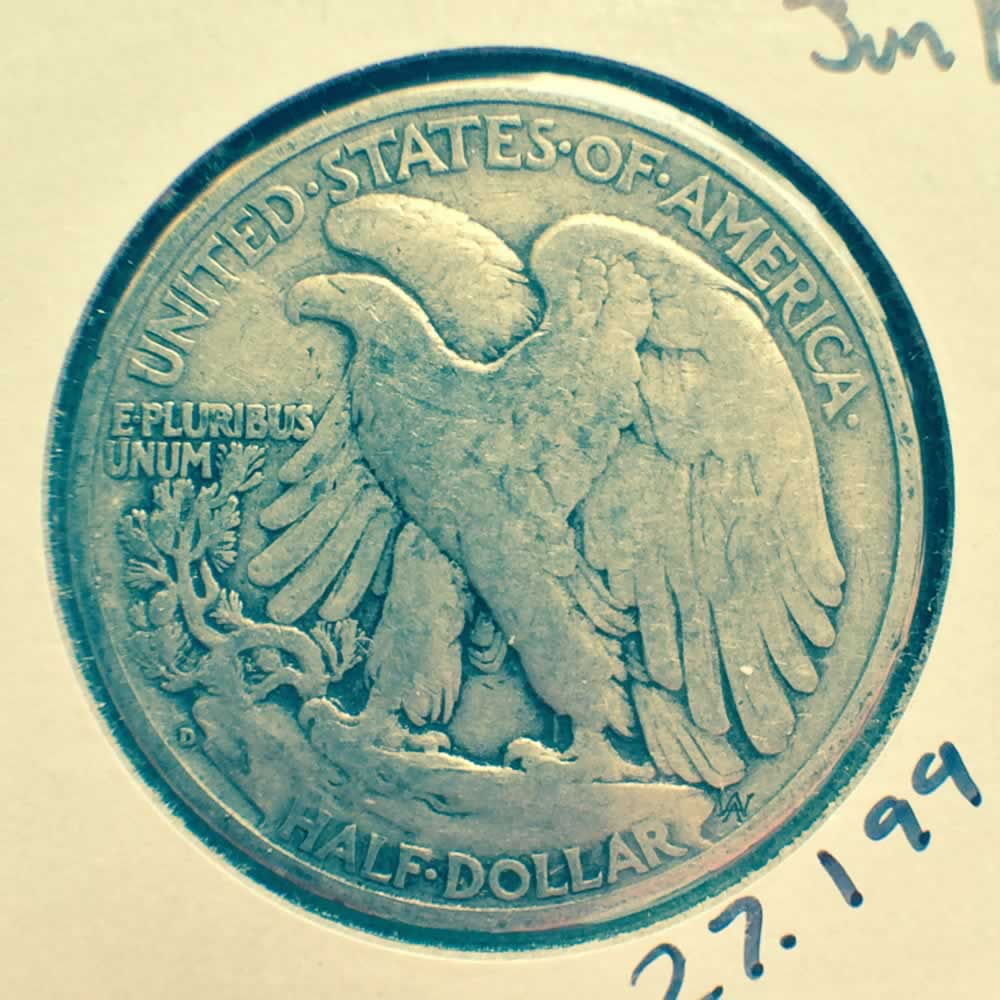 US 1941 D Walking Liberty half dollar ( S50C ) - Reverse