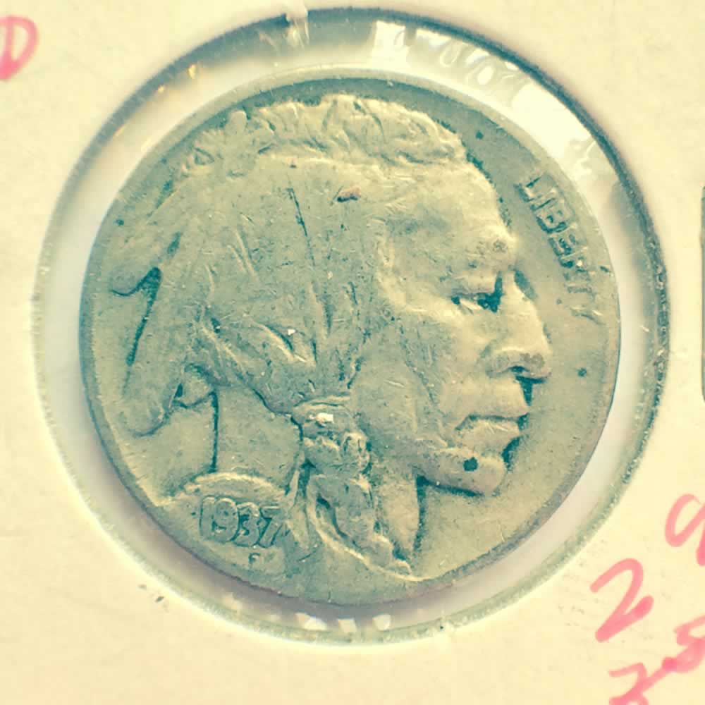 US 1937 D Buffalo Nickel ( 5C ) - Obverse