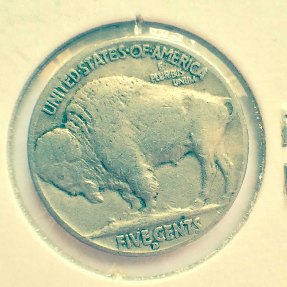 US 1937 D Buffalo Nickel ( 5C ) - Reverse