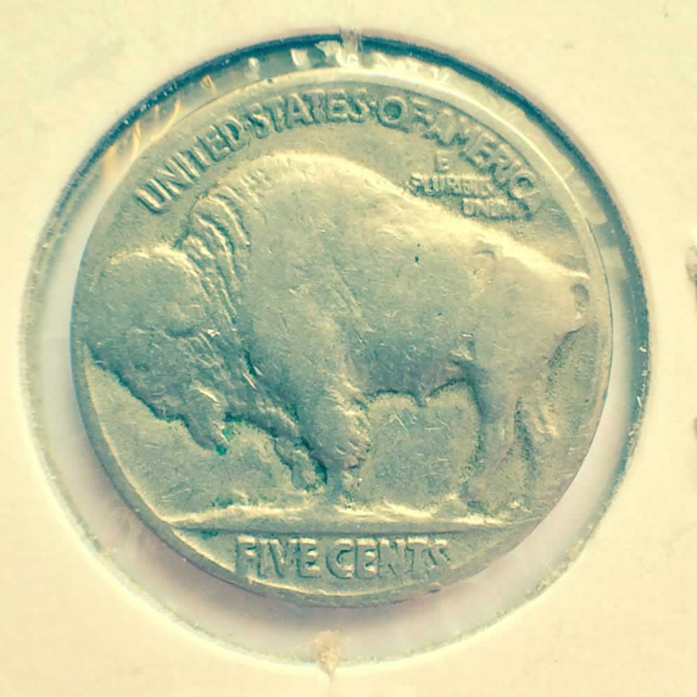 US 1924  Buffalo Nickel ( 5C ) - Reverse