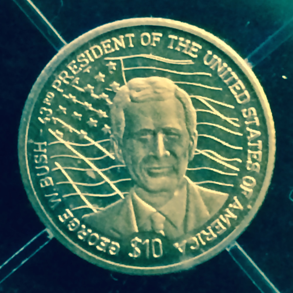2000 Liberia 10 Gold George W Bush Am Proof George W