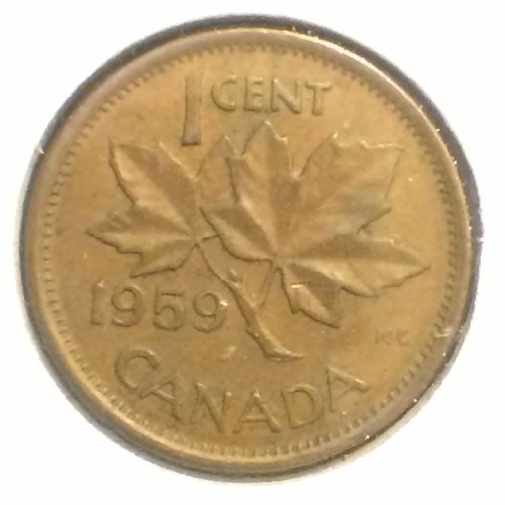 1959 Canada 1953 1964 Elizabeth Ii Canadian One Cent Ofcc Ungraded C1c Ofcc 62 889
