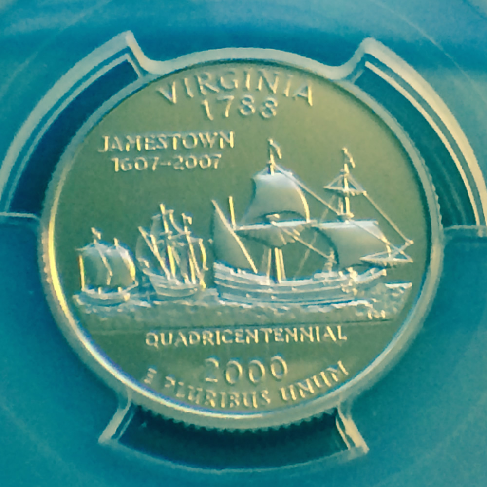 US 2000 S Virginia Statehood Quarter ( 25C ) - Reverse