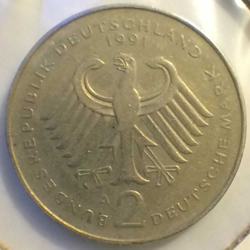 Germany 1991 A 2 Mark Ludwig Erhard ( DM 2 ) - Reverse